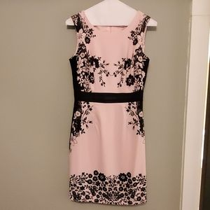 Black and pink floral sheath dress